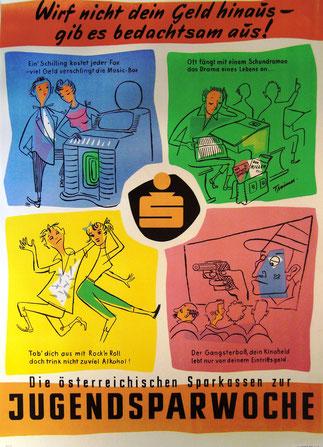 Wirf nicht Dein Geld hinaus. Plakat 1957 zum Weltspartag. Sparwerbung der Sparkassen.