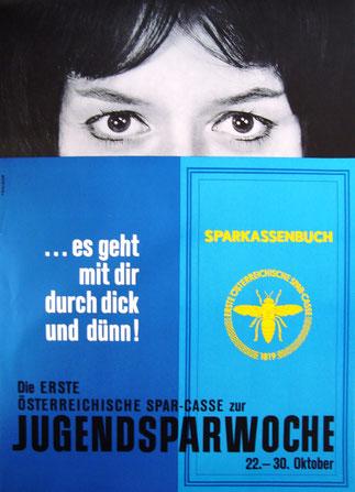 Sparkassenbuch. Werbung der Ersten Österreichischen Sparkasse zum Weltspartag um 1966.