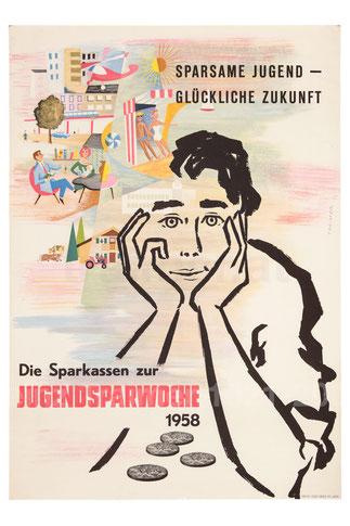 Sparerziehung: Poster der Sparkasse. Jugendlicher träumt. Sparkassenwerbung 1958.