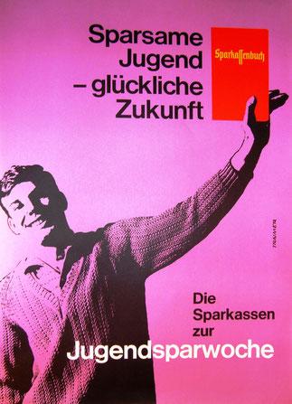 Jugendlicher präsentiert Sparkassenbuch. Weltspartags Plakat um 1958.