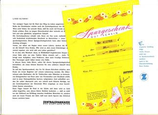 """""""Herzlichen Glückwunsch"""" Geldgeschenk-Umschlag für Eltern (verwendet bis 1967). Zentralsparkasse der Gemeinde Wien."""