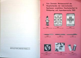 Geschenke für Weltspartag und Jugendsparwoche der Sparkasse (Weltspartagsgeschenke 1965).