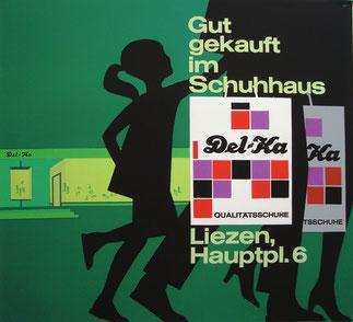 DELKA Werbung Schuhaus Liezen. Plakat um 1965.