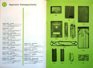 Weltspartagsgeschenke der Sparkasse. Angebote des Sparkassenverlages 1964. Allgemeine Werbegeschenke.