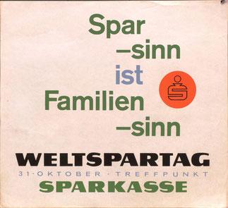 Sparsinn ist Familiensinn. Strassenbahn-Plakat zum Weltspartag 1961