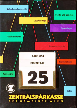 Kalender mit Sparkassen-Dienstleistungen - Aufsteller der Zentralsparkasse. Grafik Heinz Traimer 1957.