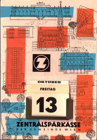 Kalender mit Wiener Sehenswürdigkeiten -  Aufsteller für Zentralsparkasse Filiale. Grafik Heinz Traimer 1958.