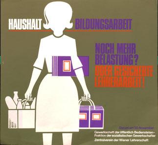 Lehrerin beim Einkaufen. Plakat von heinz traimer für den Zentralverein der Wiener Lehrerschaft.