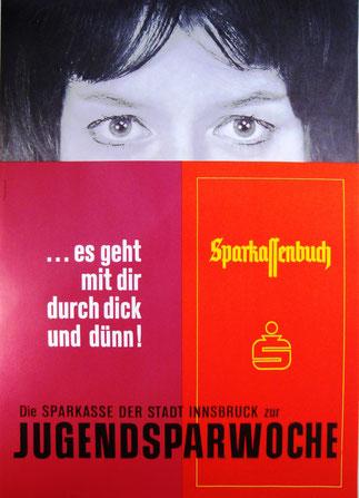 Jugendsparwoche Weltspartag 1966. Sparkassenbuch Werbung von Heinz Traimer.