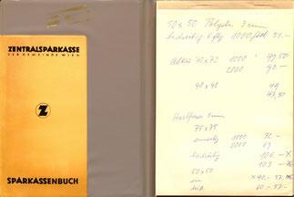 Notizblock-Umschlag der Zentralsparkasse um 1960.