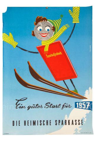 Ein guter Start für 1957. Die heimische Sparkasse. (Neujahr, Ski springendes Sparkassenbuch 83x60).