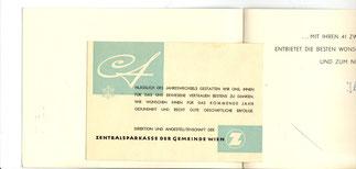 Weihnachtskarte der Zentralsparkasse der Gemeinde Wien um 1957. Innen und Beilageblatt.