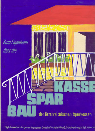 Poster Bausparkasse Werbung 1950er Jahre.