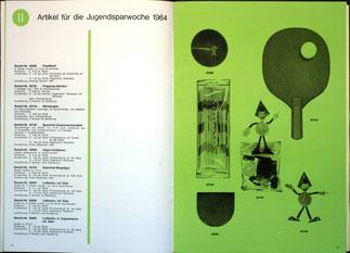 Weltspartagsgeschenke der Sparkasse. Angebote des Sparkassenverlages 1964. Sparefroh.