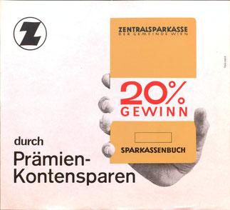 Sparkassenbuch 20% Gewinn durch Prämienkontensparen. Plakat Zentralsparkasse 1966.