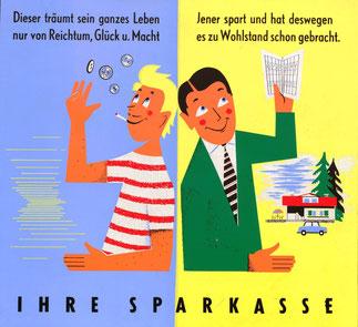 Träumer und Sparer. Plakat im Wiener Straßenbahn-Format um 1957.
