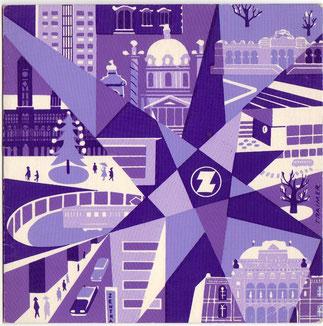 Neujahr Glückwunschkarte mit Wien Motiv (Zentralsparkasse um 1959. Grafik Heinz Traimer).