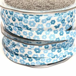Geschenkband Blumen blau