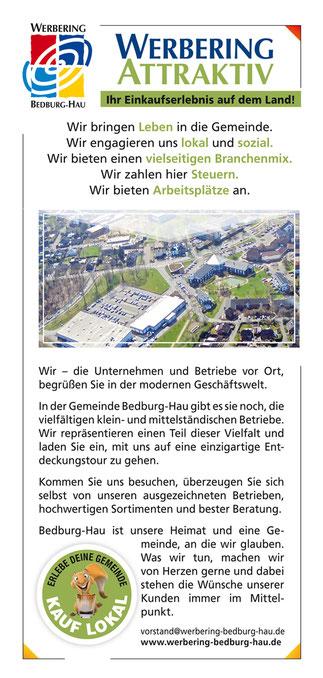 Rückseite des neuen Faltflyers 2021/2022 der Gemeinde Bedburg-Hau.