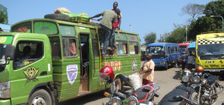 The bus terminal in Likoni, serving the South Coast.