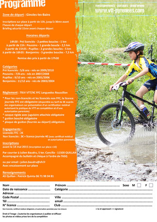 Programme Mini Carach Bike 2015