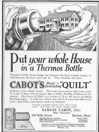 historische Anzeige der Firma Cabot´s Quilt