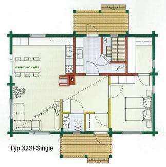 Blockhaus als Wohnhaus - Typ 82SI-Single
