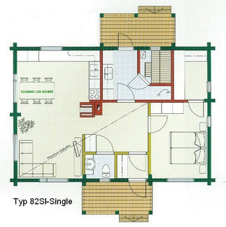 Blockhaus Wittenberge als Wohnhaus - Typ 82SI-Single - Singlehaus mit finnischer Sauna - Blockbohlenhaus als barrierefreies Bungalow  - Wohnhaus  - Energiesparhaus - Ökohaus - Seniorenhaus planen und bauen - Grundrissplanung - Hausbau - Blockhausbau - Bau