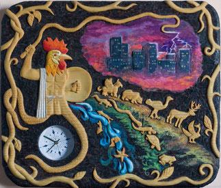 """""""Игры времени"""", резьба, выжигание, роспись масляными красками, 2010"""
