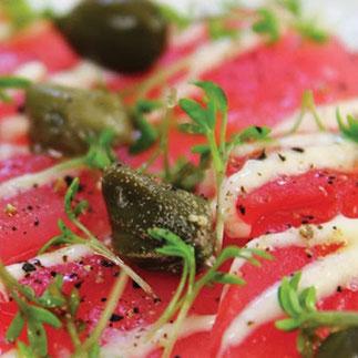 Olivenöl Carpaccio, welches Olivenöl für welche Gerichte - Master of Olive Oil - Silvan Brun