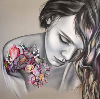 original art, oil colour, canvas, lady with tattoo