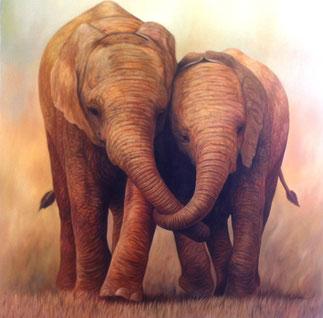 Gemälde mit zwei Elefanten