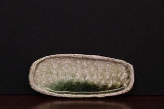 楕円皿ー信楽土・黄瀬(27x11)