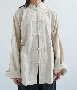 ヂェン先生の日常着 チャイナシャツ長袖厚地