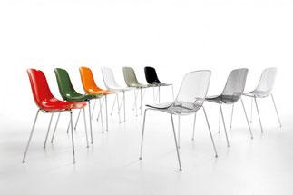 silla moderna de comedor plastificado transparente opaco colores pure loop infinitidesign lacadira.com