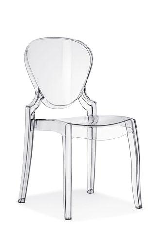 Silla de comedor moderna transparente policarbonato Queen pedrali lacadira.com