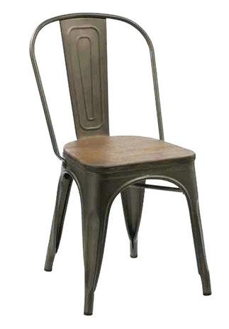 silla de comedor metalica vintage asiento madera kdcontract lacadira.com