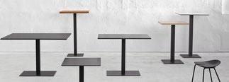 Cafe mesa ondarreta lacadira.com Mesa con pie de acero en cromo granallado o epoxi aluminio, blanco o negro. En 40x40 o 60x45. En acero inoxidable en 45x45 y 40x60. Columna de tubo de acero cuadrado de 8x8 en cromo granallado o brillo y epoxi aluminio, bl