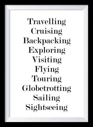 Typografie Poster, Typografie Print, Reisen, travelling