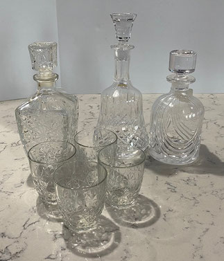 Decanter/Four Tumblers $25.00  Decanter $25.00  75th Anniversary USMA Decanter $35.00