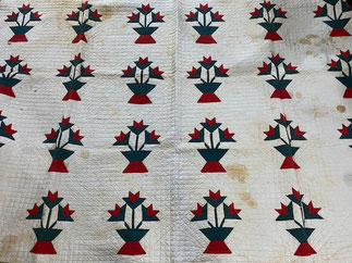 Quilt with Stains Red Flowers in Basket $125.00