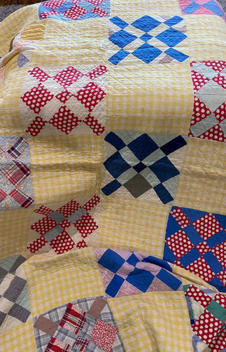Yellow Red Blue Quilt $55.00