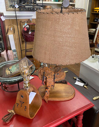 Saddle Lamp $200.00  Stirrup Lamp $55.00