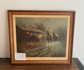 "1974 G. Harvey Signed Print ""The Drifting Cowhand"" $245.00"