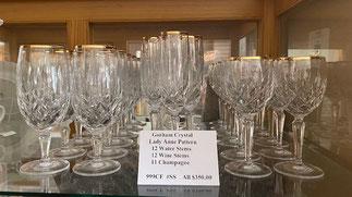 Gorham Crystal Lady Ann Pattern  All $350.00  12 Water Stems, 12 Wine Stems, 11 Champagne
