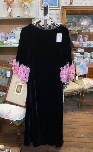 Velvet Dress Pink Flowered Sleeves $12.50