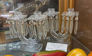 Glass Candelabra with Prisms Pair Sale $195.00