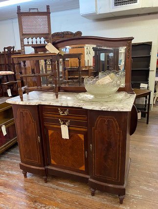 Mahogany Marble Top Server with Mirrored Back $2,495.00