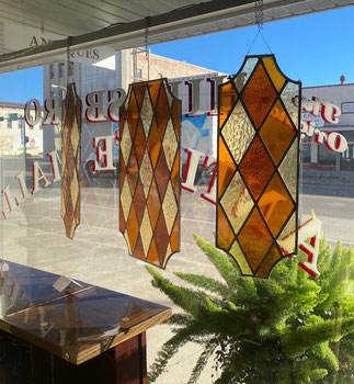 Three Pieces Stained Glass Amber Colors Set $295.00
