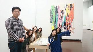 『アートの今・岡山 2018「呼応CALL&RESPONSE」』展@岡山天神山文化プラザオープニングに一緒に参加したパトロンプロジェクトメンバーと門田氏